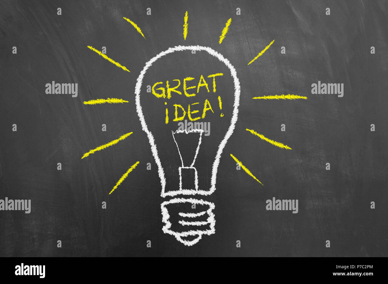 Great idea light bulb chalk drawing and text on chalkboard or blackboard as creativity innovation new invention concept - Stock Image