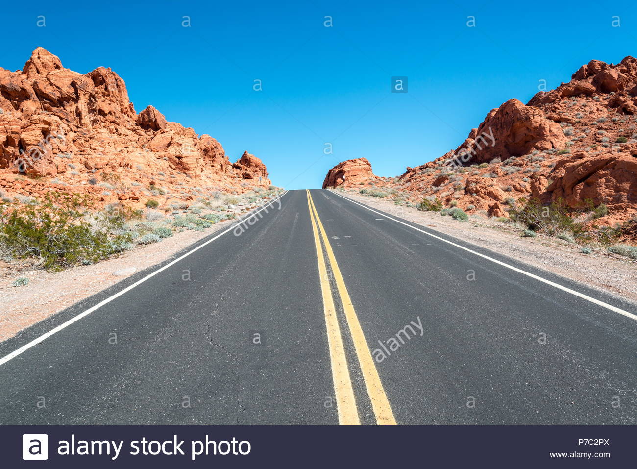 Road in the park Valley of Fire, Nevada-USA - Stock Image