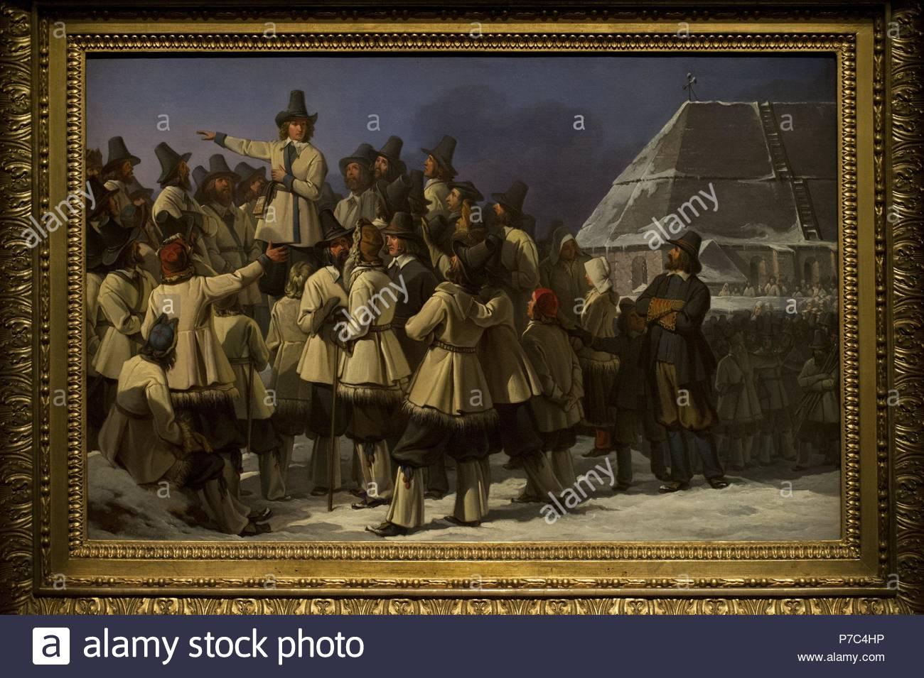 Johan Gustaf Sandberg (1782-1854). Swedish painter. King Gustav Vasa (1496-1560) in Mora, 1836. National Museum. Stockholm. Swedish. - Stock Image