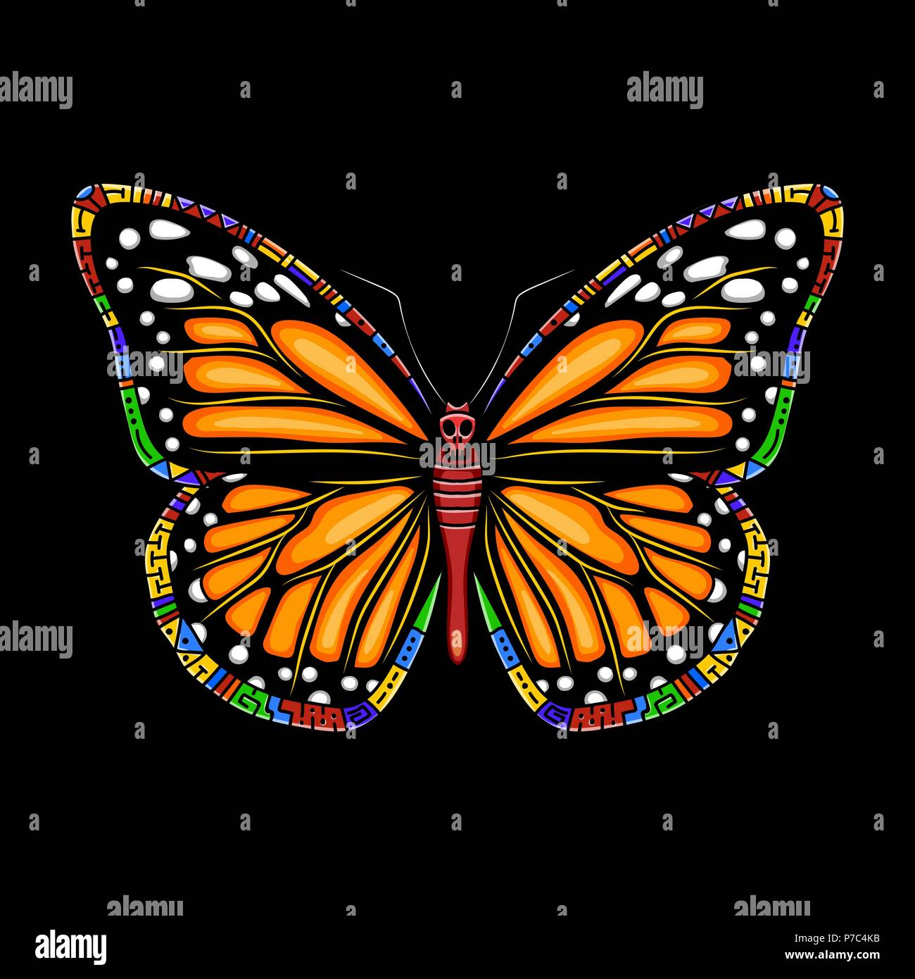 8ab624fa1 Butterfly machaon on a black background. Vector beautiful swallowtail boho t -shirt design. Mystical esoteric symbol of freedom, travel, tourism.