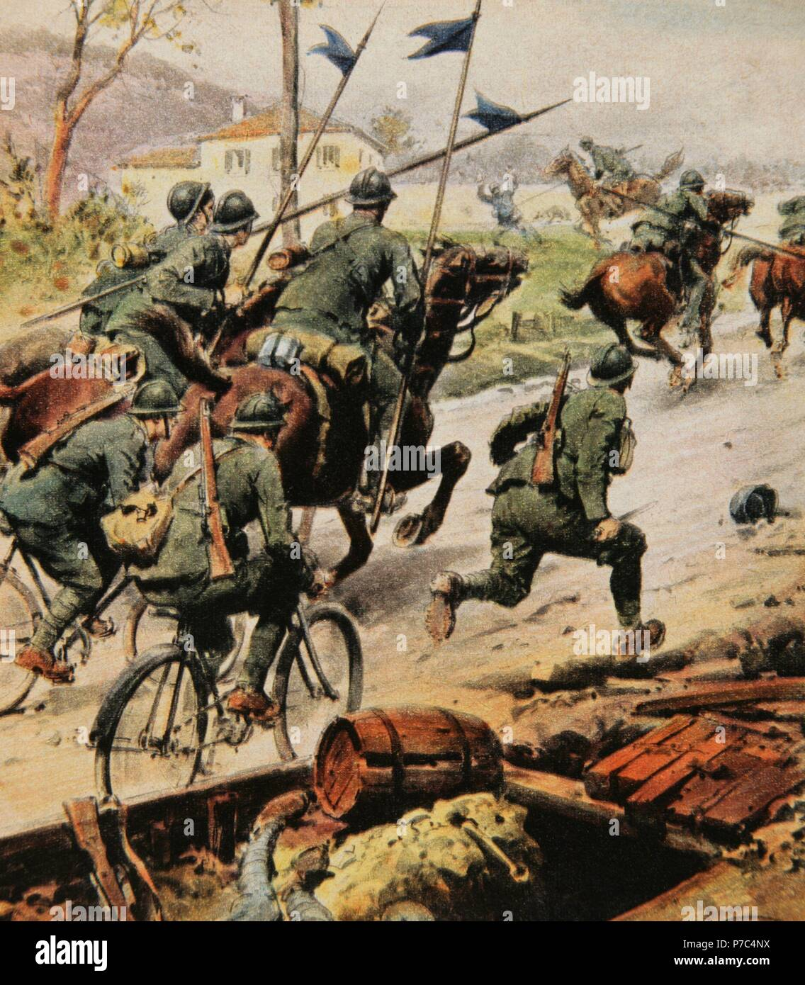 World War I (1914-1918). The Italian cavalry chases the enemy. Engraving in La Domenica del Corriere, Italy. - Stock Image