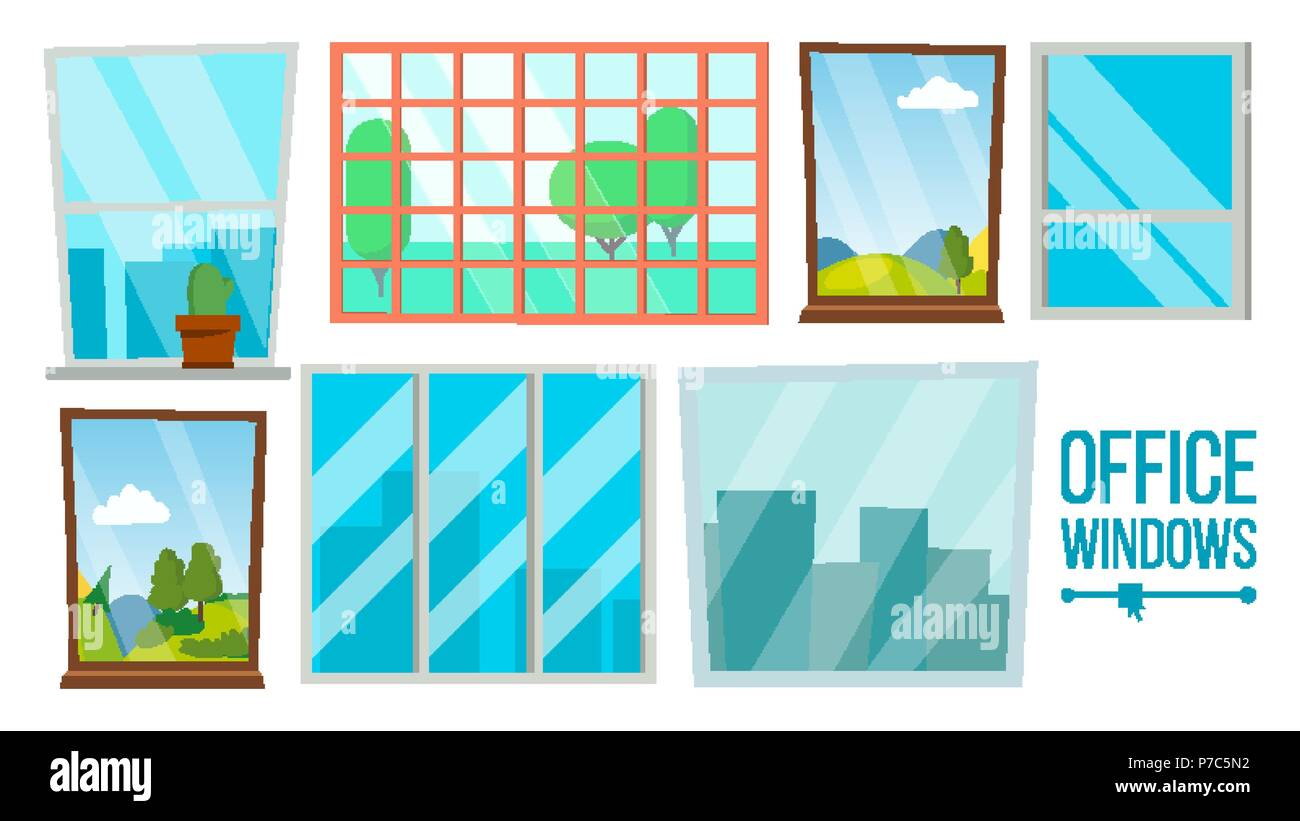 Office Windows Set Vector Business Apartment Interior Design Element Different Types City View Isolated Illustration Stock Vector Image Art Alamy