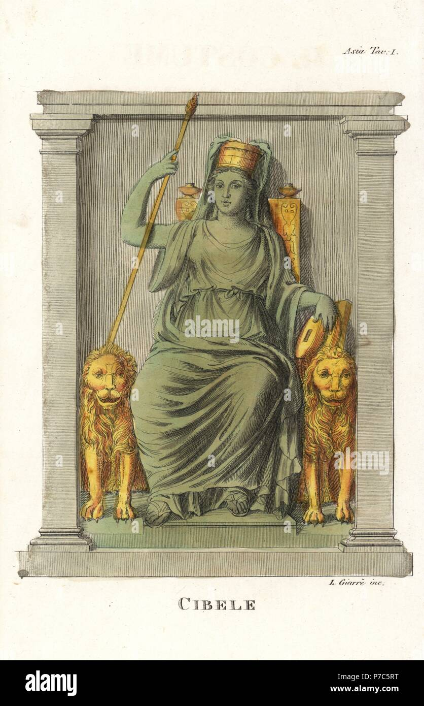 Statue of Cybele, the earth mother goddess, seated on her lion throne with sceptre and mural crown. Handcoloured copperplate engraving by Luigi Giarre from Giulio Ferrario's Ancient and Modern Costumes of all the Peoples of the World, Florence, Italy, 1843. - Stock Image