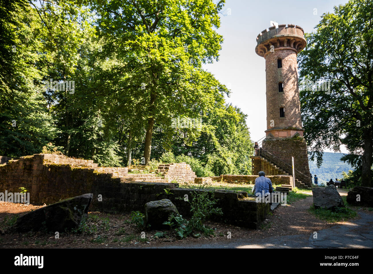 Heidelberg, Germany. The Heiligenberg Aussichtsturm, an old observation tower in the mountain surrounding the city of Heidelberg - Stock Image