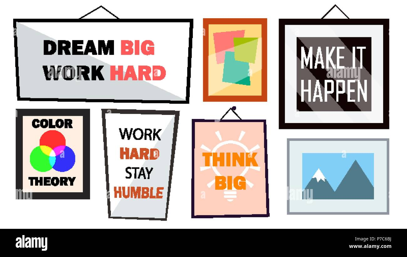 Office Interior Pictures Set Vector. Different Frames With Motivational Text. Isolated Illustration - Stock Image