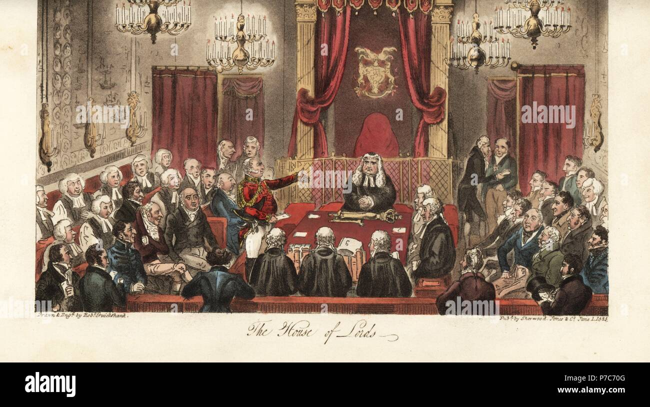The Duke of York making a speech before the House of Lords, with portraits of the Dukes of Gloucester, Wellington, Devonshire, earls, lords and bishops, etc. Handcoloured copperplate drawn and engraved by Robert Cruikshank from The English Spy, London, 1825. Written by Bernard Blackmantle, a pseudonym for Charles Molloy Westmacott. - Stock Image