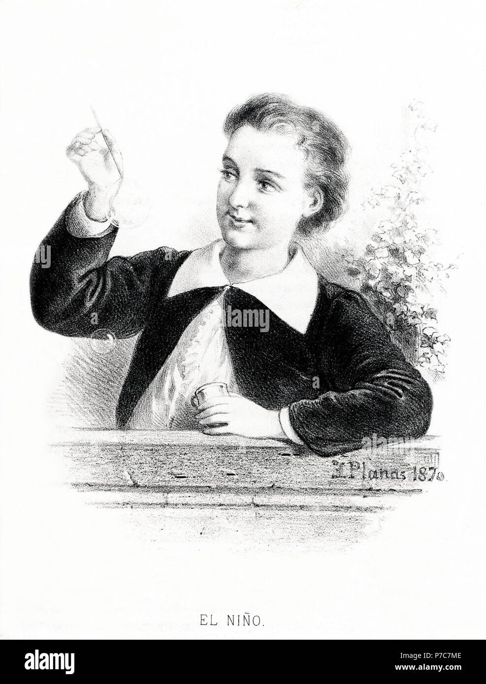 Carácteres del individuo. El niño. Grabado de 1870. Stock Photo
