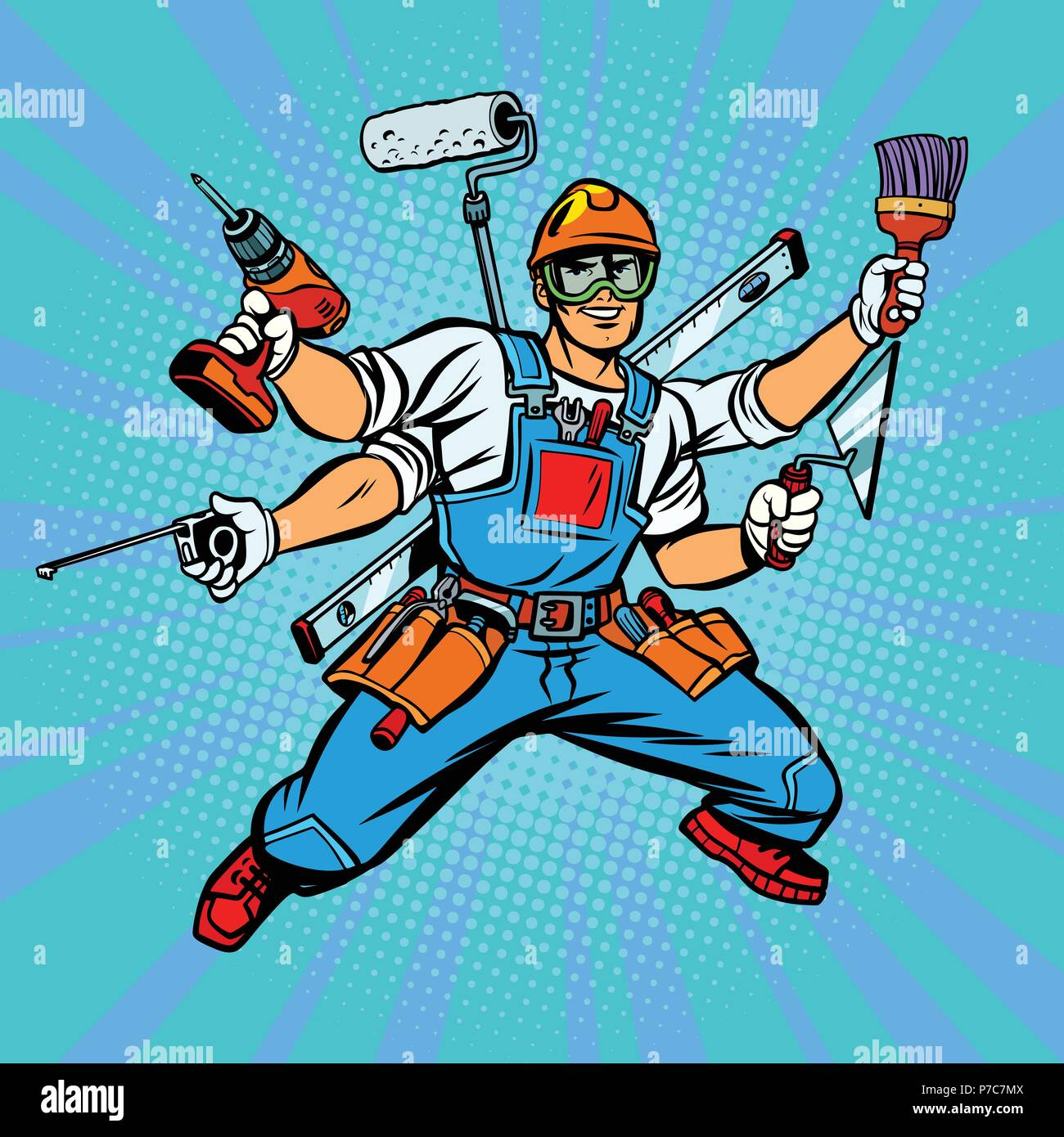 Many hand Builder repairman worker - Stock Vector