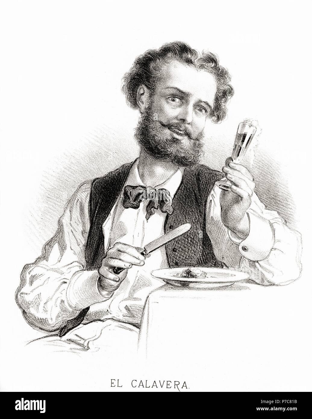 Carácteres del individuo. Hombre calavera. Grabado de 1870. Stock Photo