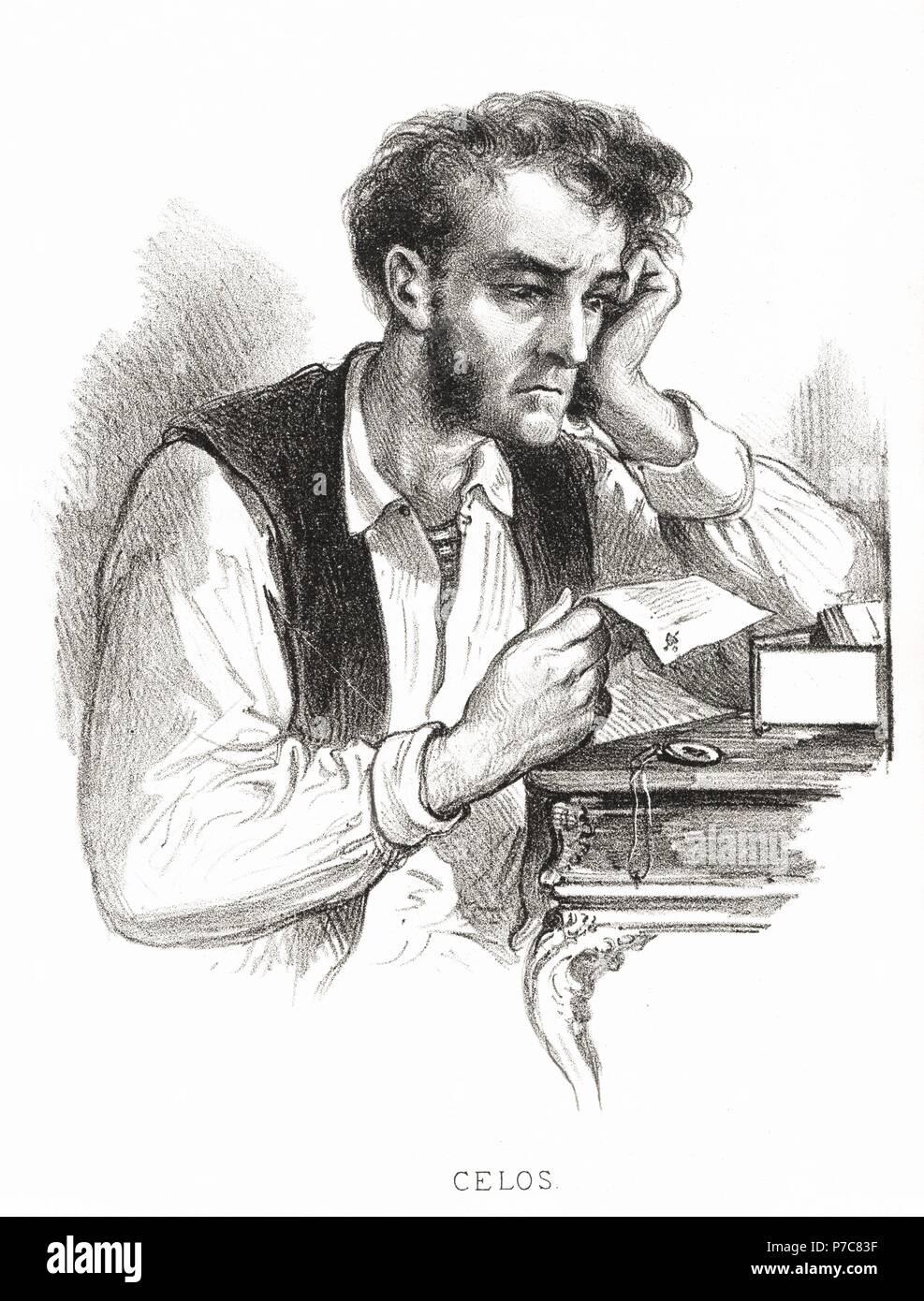 Carácteres del individuo. Hombre celoso. Grabado de 1870. Stock Photo
