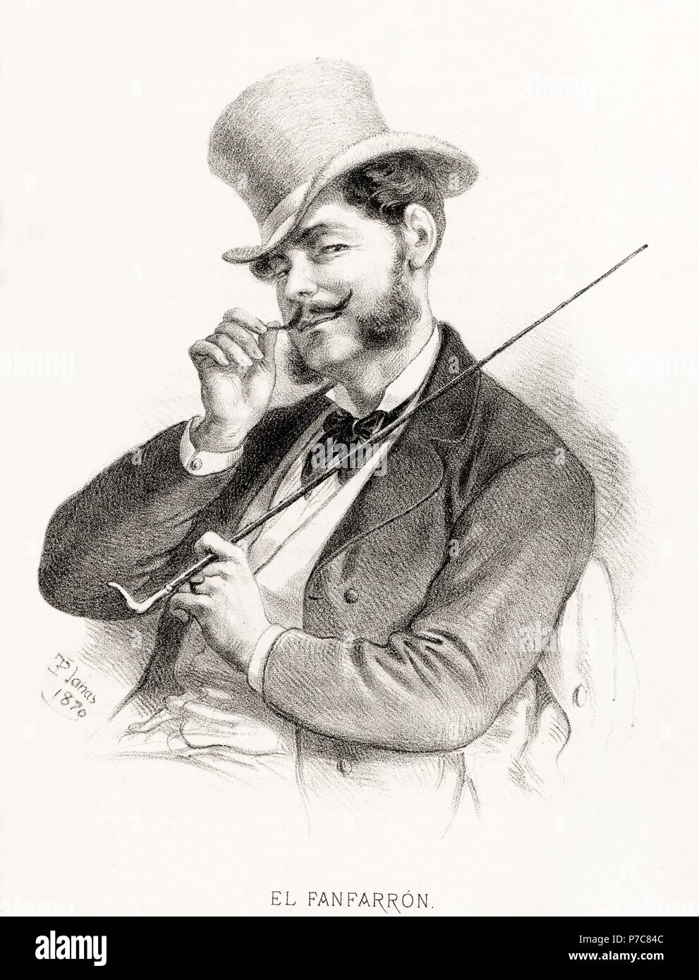 Carácteres del individuo. Hombre fanfarrón. Grabado de 1870. Stock Photo