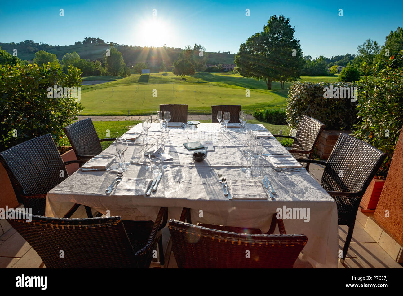 Outdoor restaurant terrace on golf club Le Fonti in Castel San Pietro Terme, Italy Stock Photo