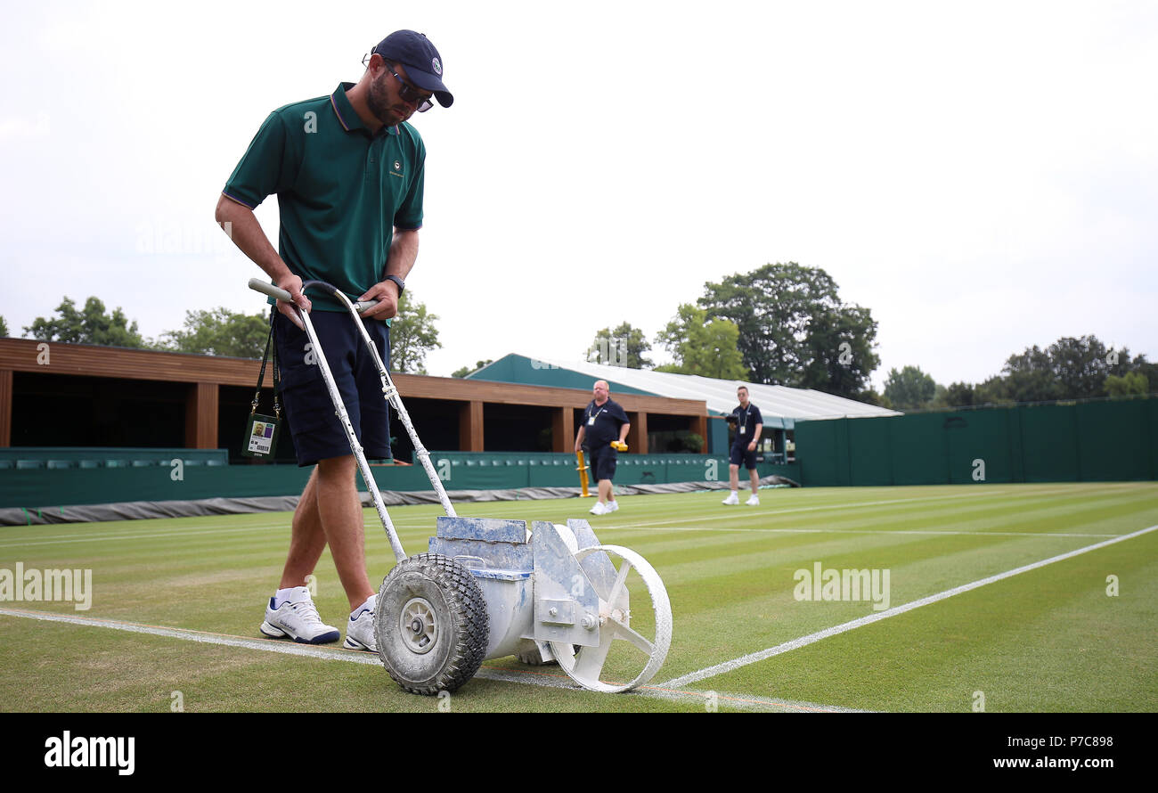 outlet store 6a87e 5b1be Grounds staff prepare the courts at the start of day four of the Wimbledon  Championships at the All England Lawn Tennis and Croquet Club, Wimbledon.