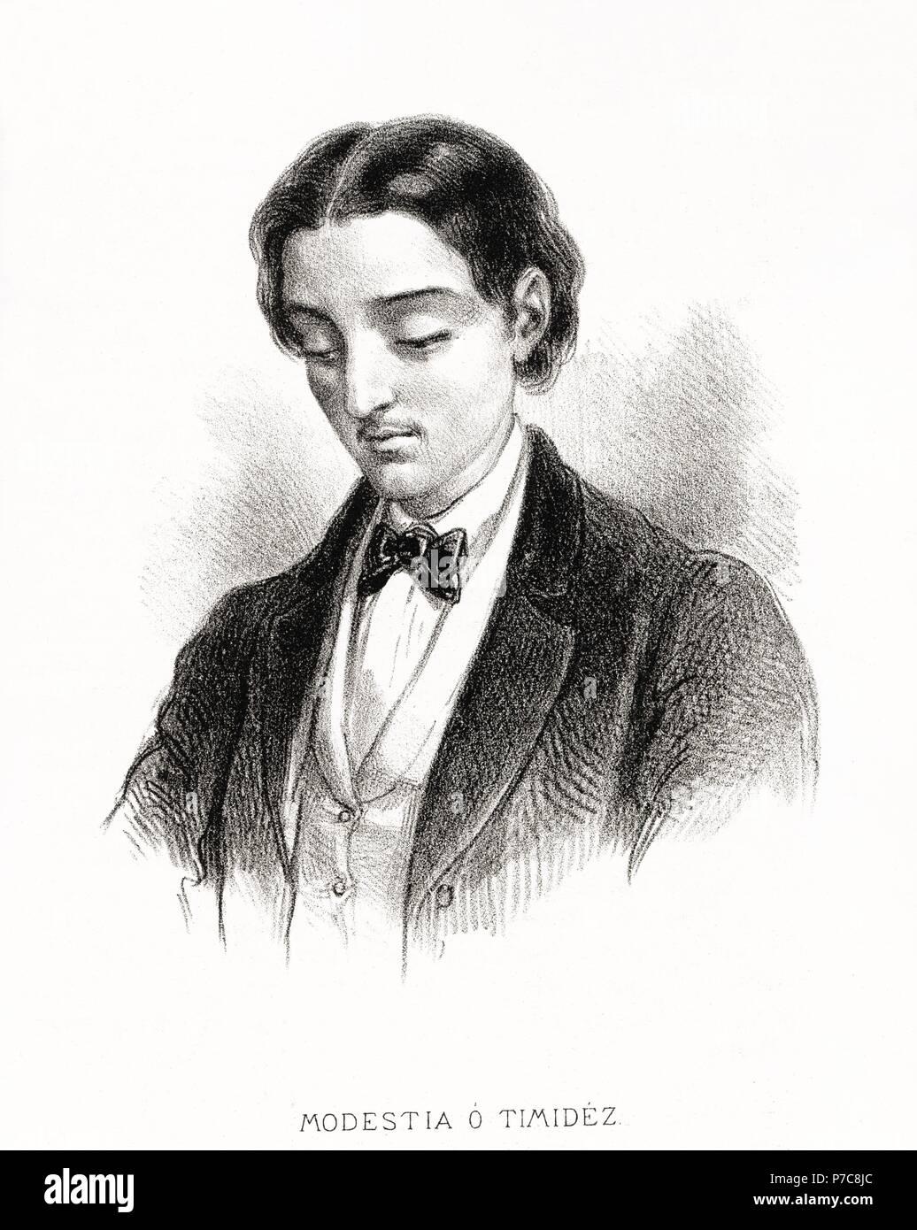 Carácteres del individuo. Hombre modesto o tímido. Grabado de 1870. Stock Photo