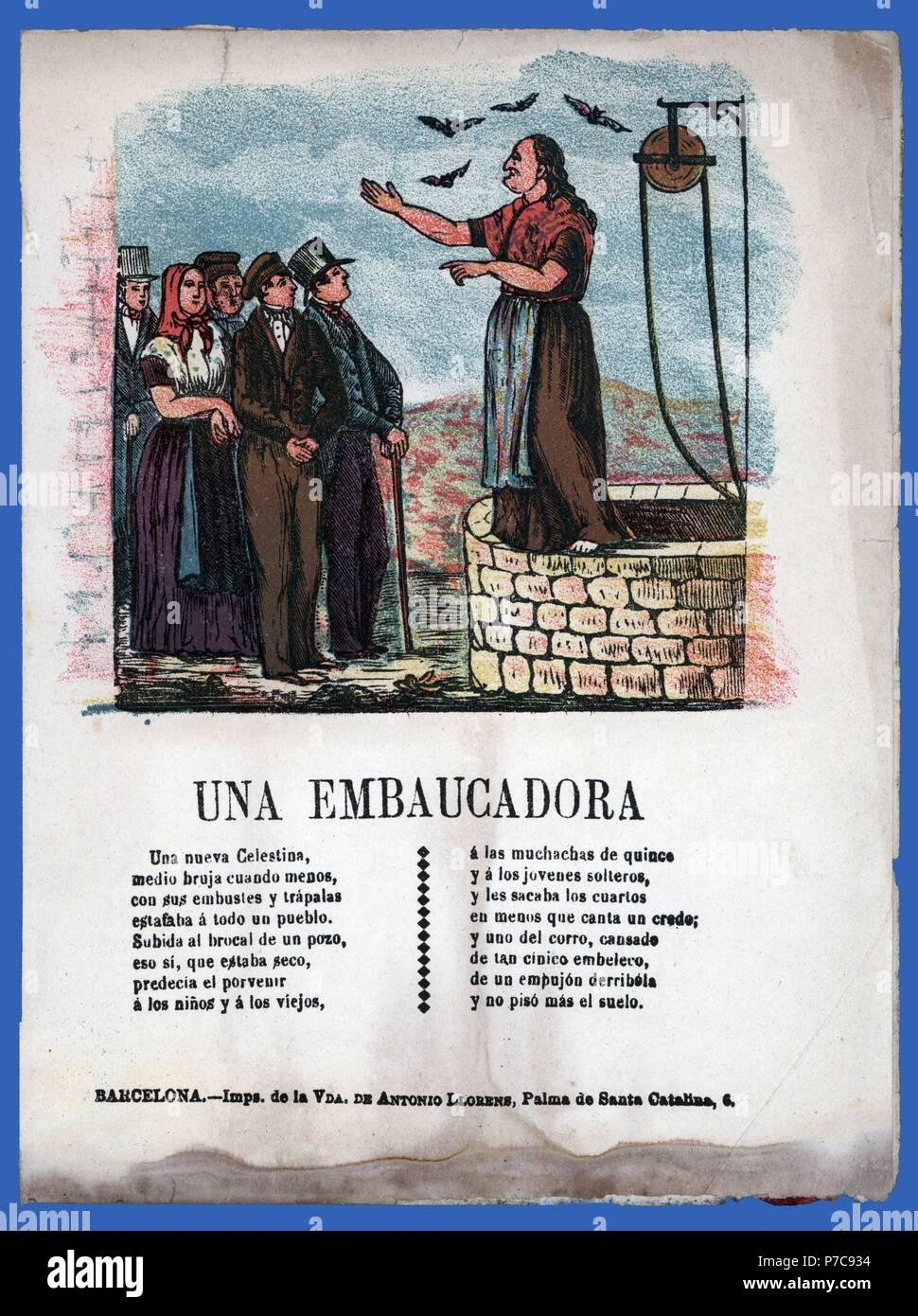 Literatura popular. Historia de una embaucadora. Barcelona, año 1870. - Stock Image