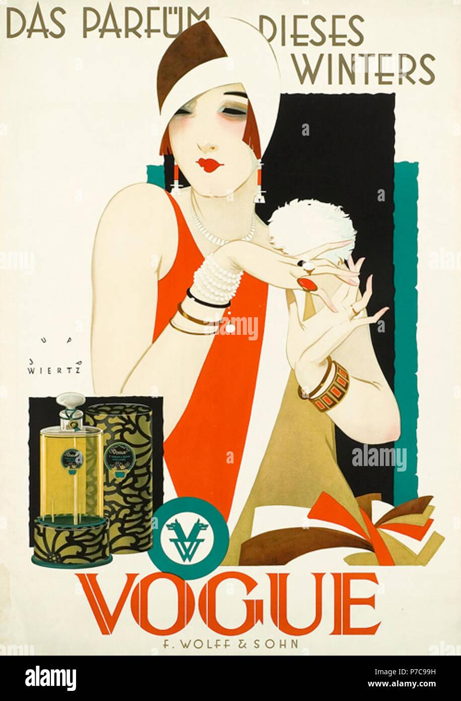1926 1927 circa Jupp Wiertz Plakat Das Parfüm dieses Winters - Vogue, Firma F. Wolff & Sohn, Karlsruhe. Stock Photo