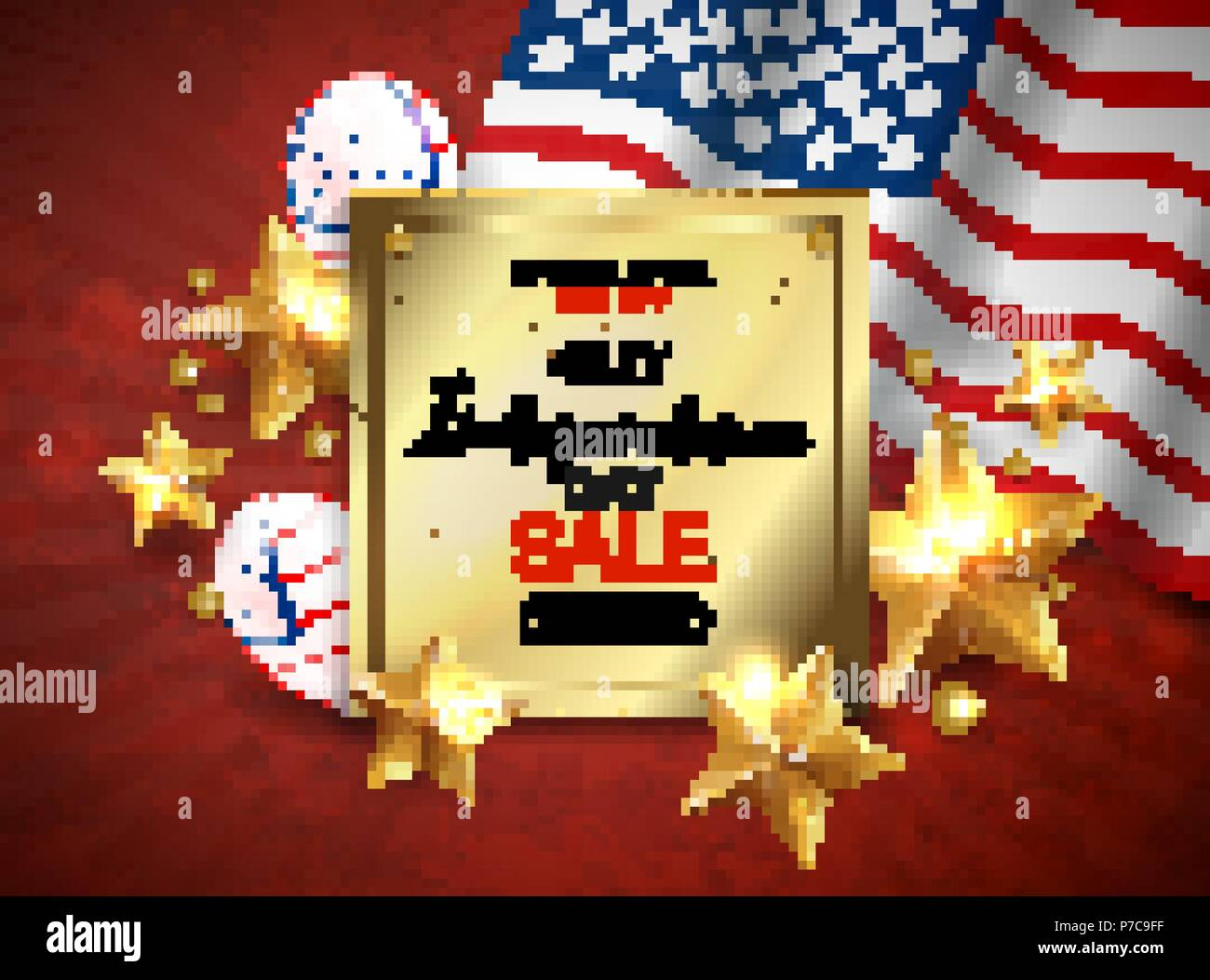 Independence Day sale banner with golden stars anf flag. Vector Stock Vector