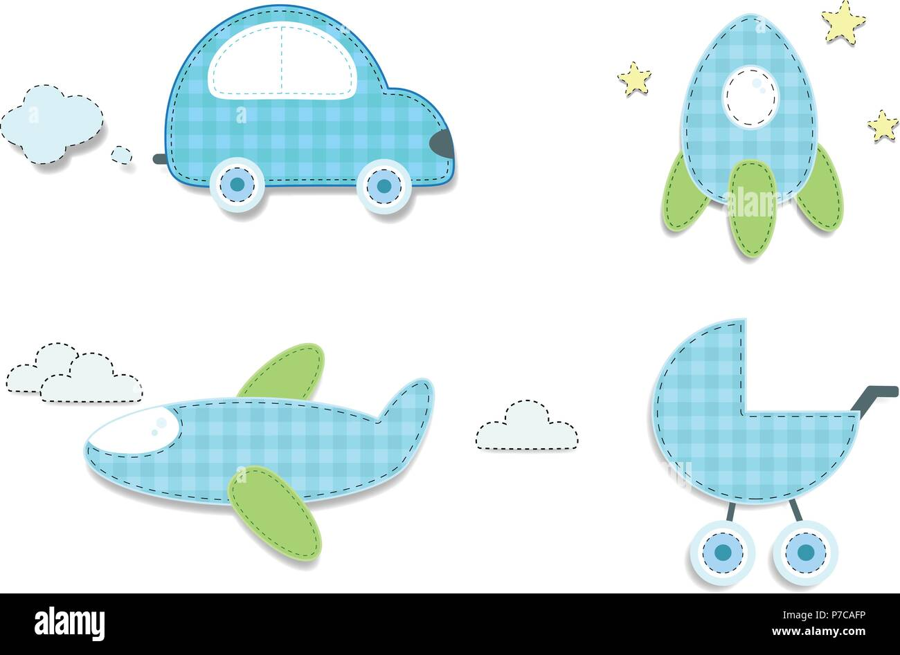 Vector set of cute baby boy elements for scrapbooking or baby shower vector set of cute baby boy elements for scrapbooking or baby shower greeting card and childs design cut out fabric or paper chequered blue stickers m4hsunfo