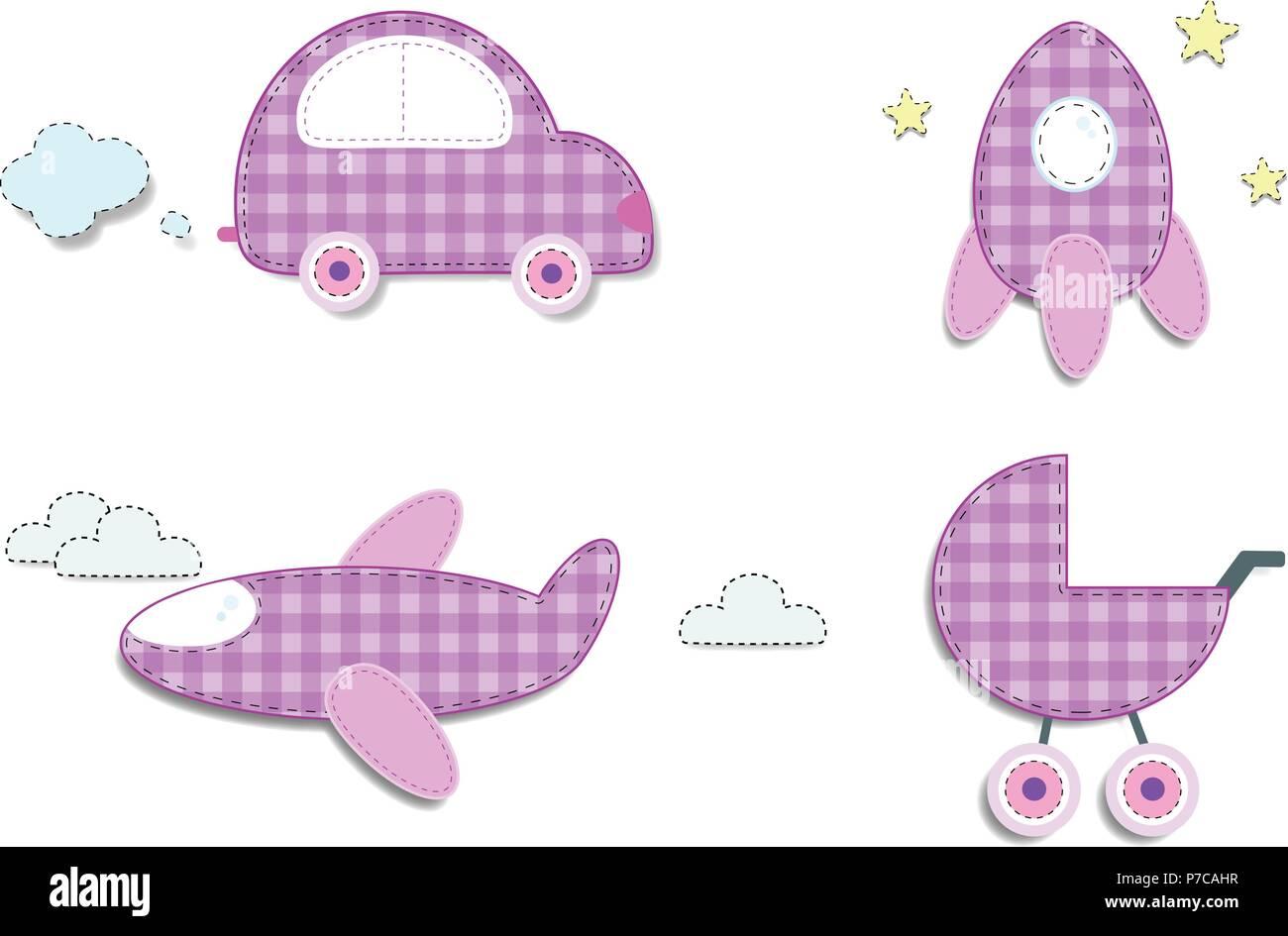 Vector Set Of Cute Baby Girl Clip Art Elements For Scrapbook Or Baby