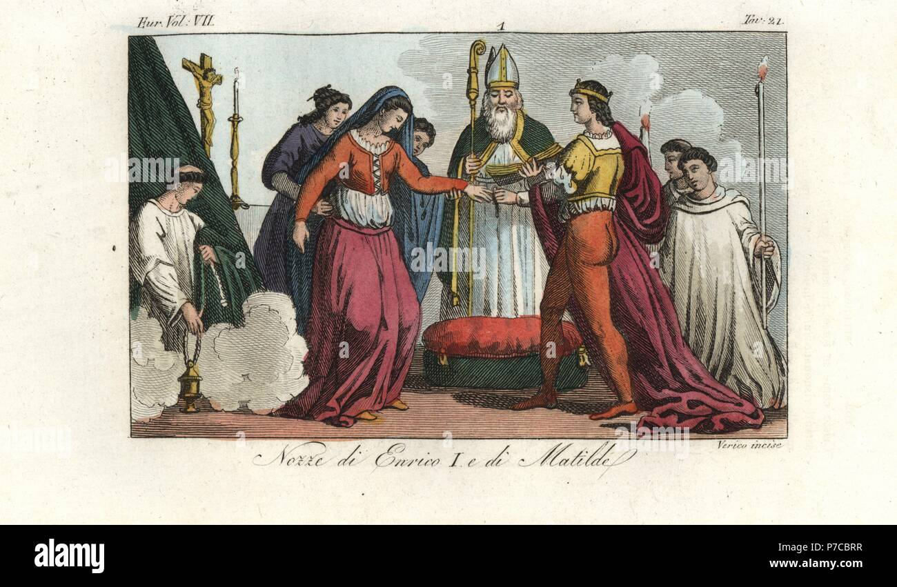 Marriage of King Henry I of England and Matilda of Scotland, 1100. Handcoloured copperplate engraving by Verico from Giulio Ferrario's Costumes Ancient and Modern of the Peoples of the World, Florence, 1847. Stock Photo