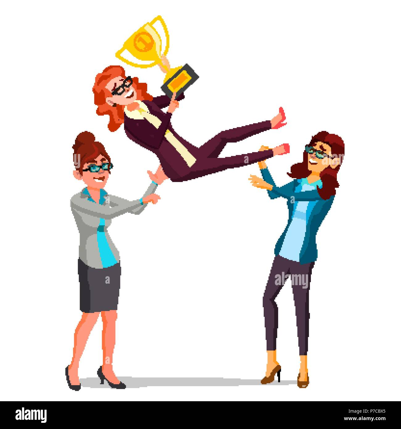 Winner Business Woman Vector. Throwing Colleague Up. Business People Celebrating Victory. With Golden Trophy. First. Prize. Flat Cartoon Illustration - Stock Vector