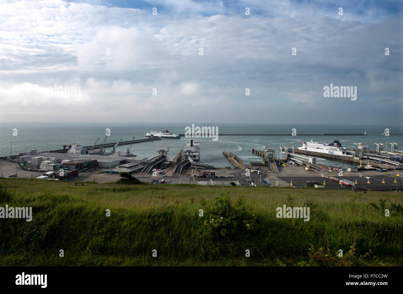 Port of Cover photographed from the White Cliffs of Dover. The Port of Dover is the cross-channel port situated in Dover, Kent, south-east England. It - Stock Image