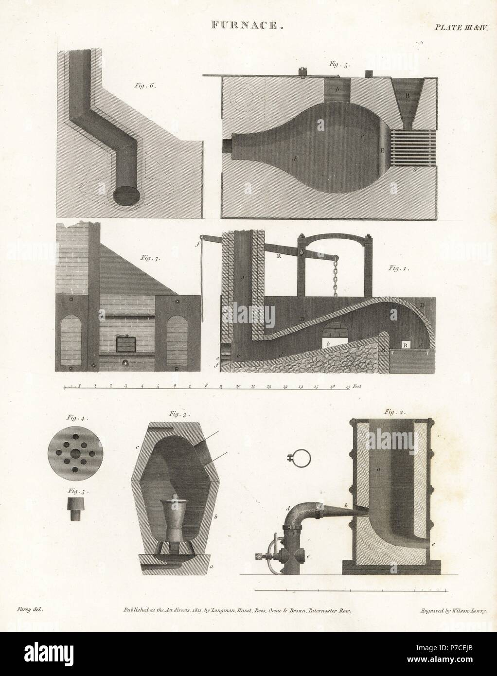 plans and elevations for a furnace early 19th century copperplate
