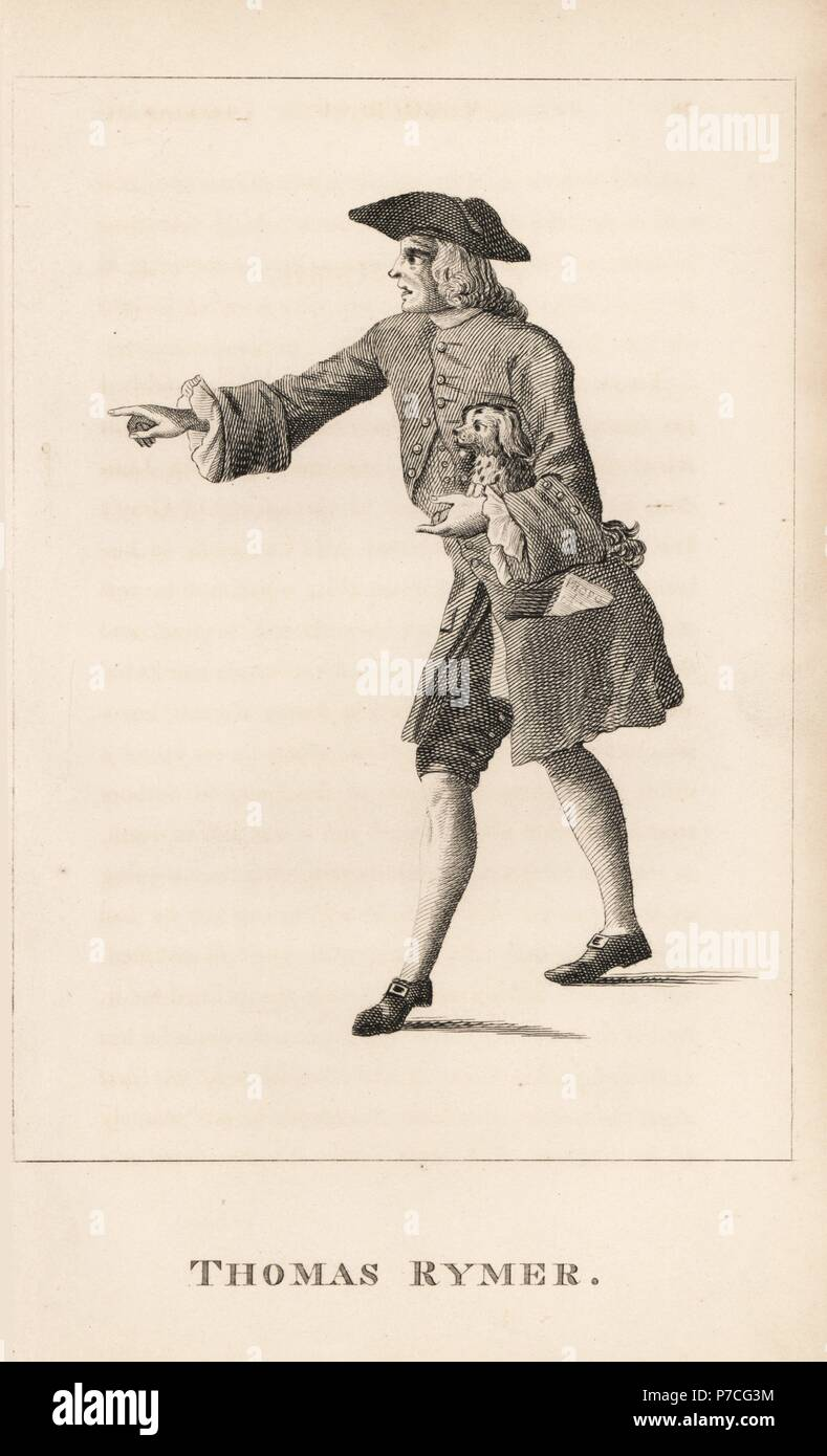 Thomas Rymer, historiographer to King William III, poet, critic and historian, died 1713. Engraving from James Caulfield's Portraits, Memoirs and Characters of Remarkable Persons, London, 1819. - Stock Image