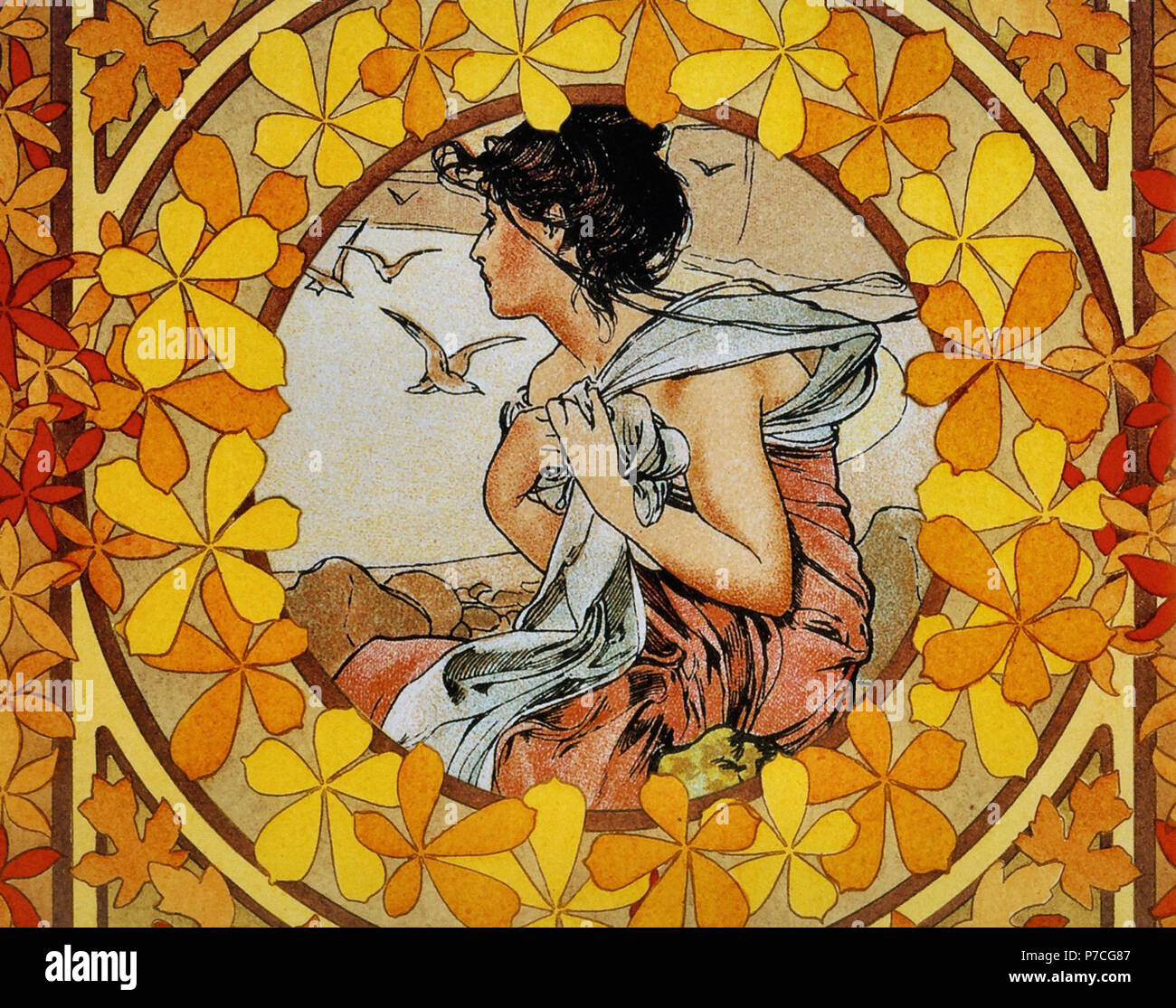 Mucha  Alphonse Maria - Adaption from 'le Mois' - Stock Image