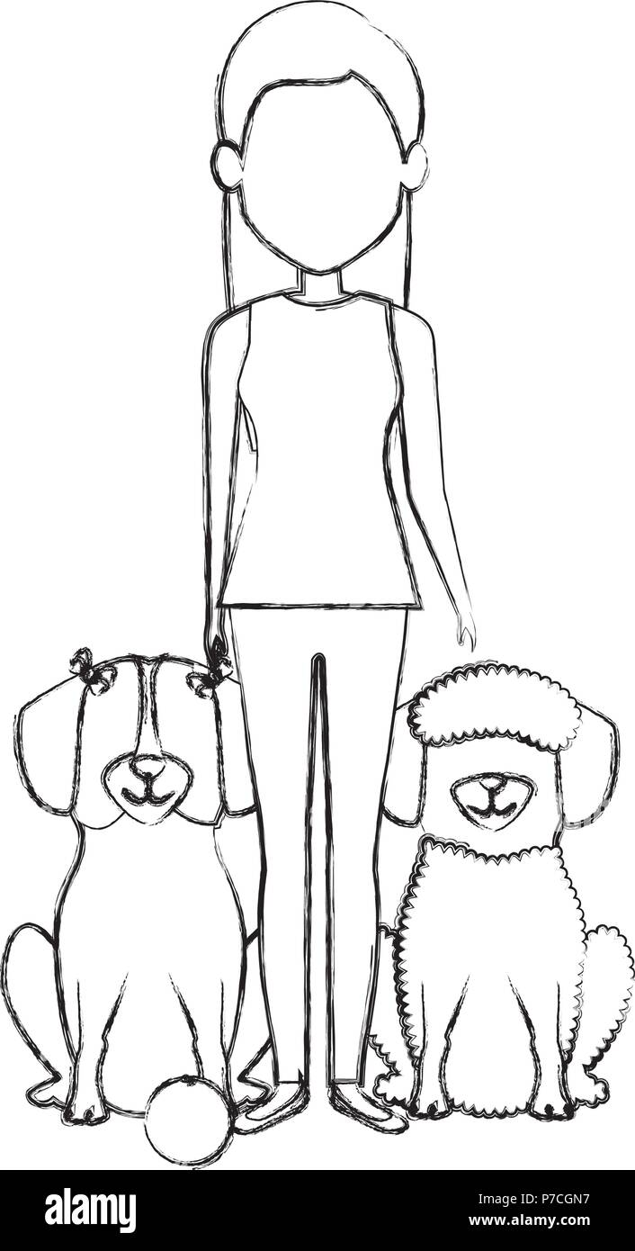 young woman with dogs characters - Stock Image