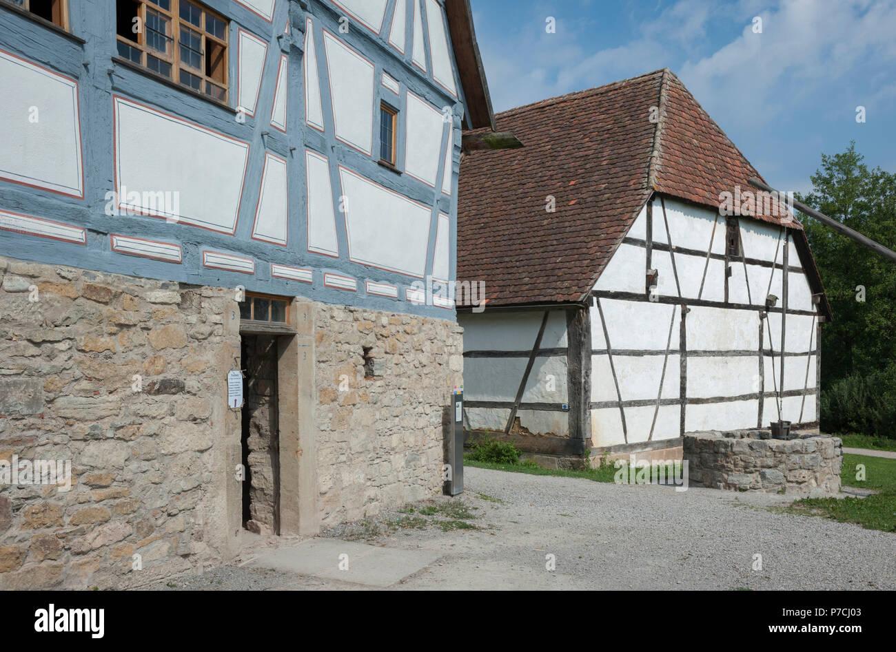open-air museum, wackershofen, schwaebisch hall, Hohenlohe region, Baden-Wuerttemberg, Heilbronn-Franconia, Germany - Stock Image