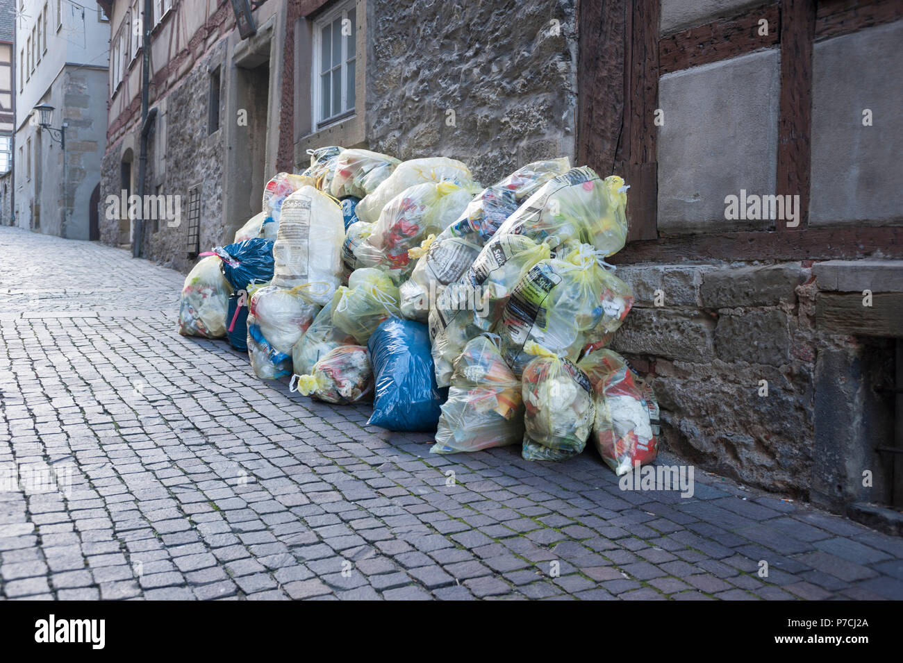 rubbish bag, schwaebisch Hall, Hohenlohe region, Baden-Wuerttemberg, Heilbronn-Franconia, Germany - Stock Image