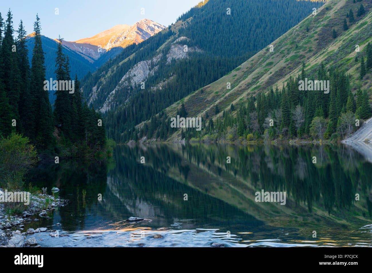 Kolsay lake at early morning, Tien Shan Mountains, Kazakhstan - Stock Image