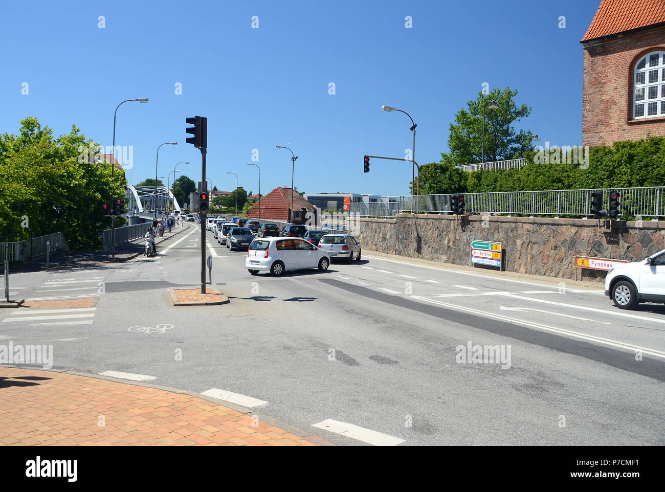 Sonderborg, Denmark - June 29, 2018: Car drivers that have entered an occupied intersection have caused a gridlock. - Stock Image