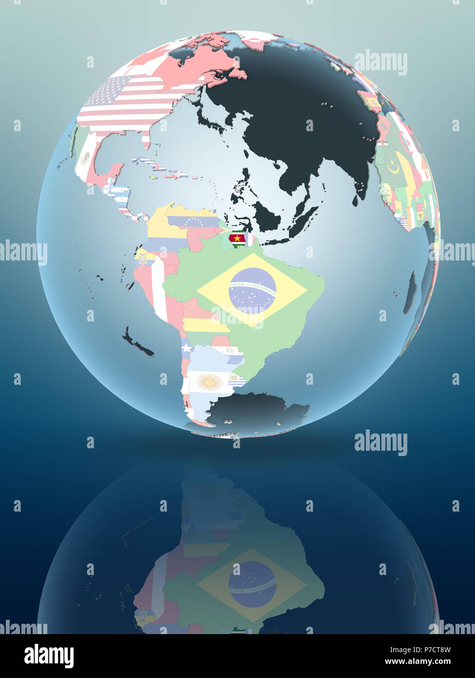 Suriname on political globe reflecting on shiny surface. 3D illustration. - Stock Image