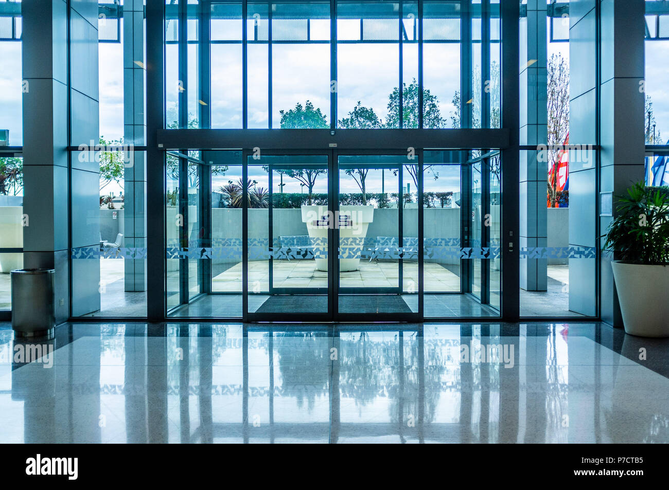 Glass Automatic Sliding Doors Entrance Into Shopping Mall Stock