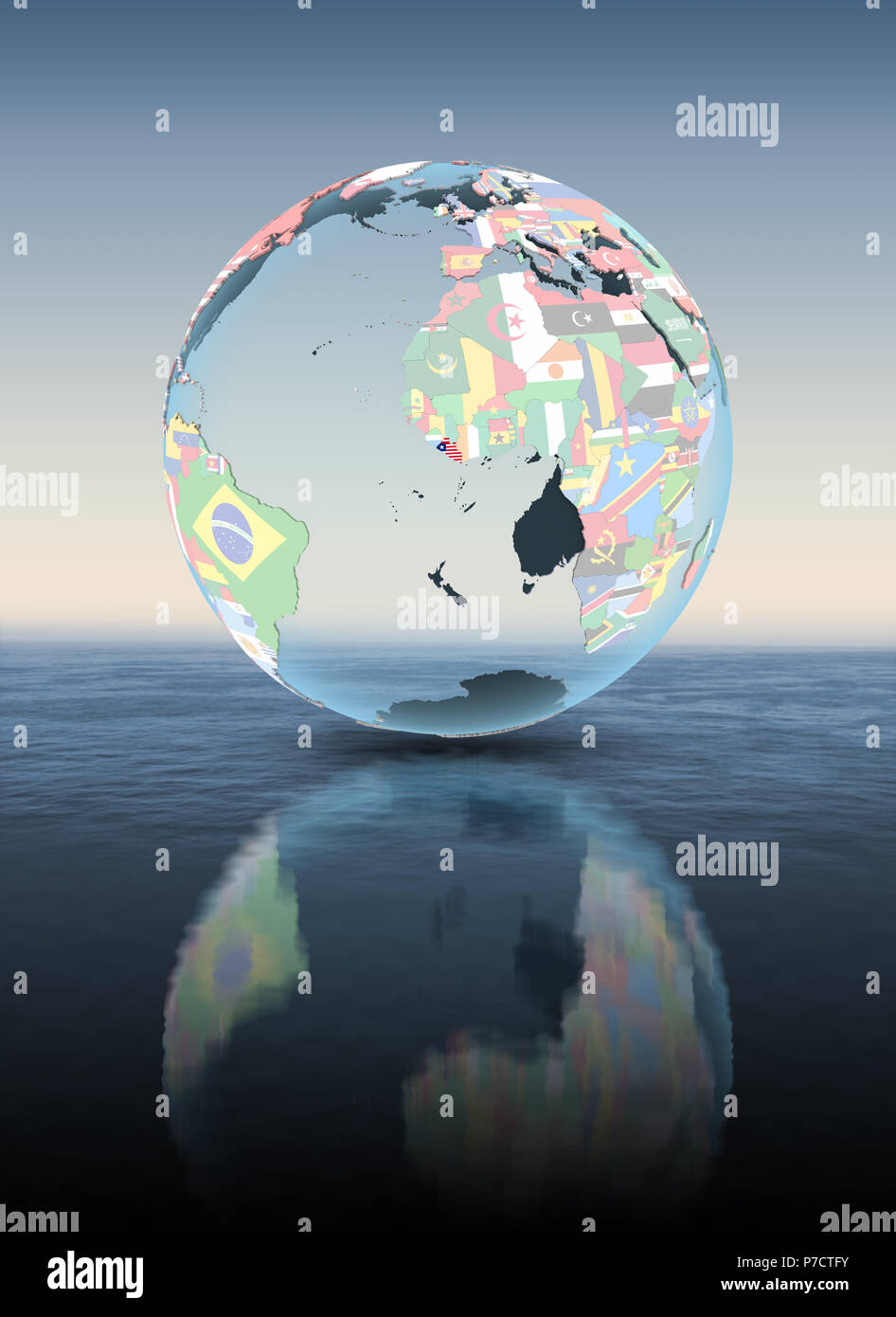 Liberia on political globe floating above water. 3D illustration. - Stock Image