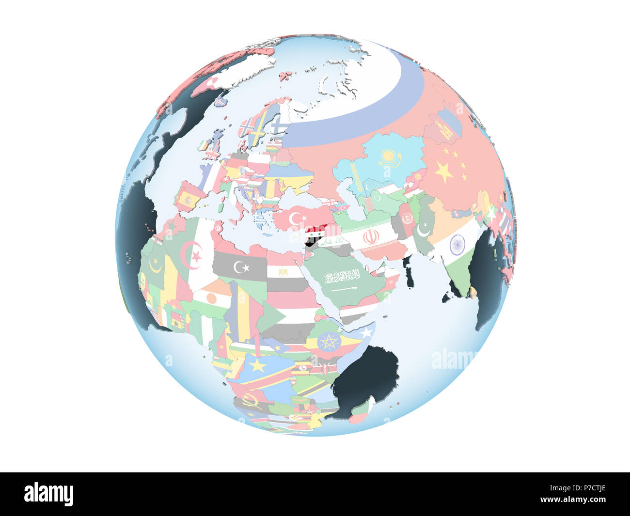 Syria on bright political globe with embedded flag. 3D illustration isolated on white background. - Stock Image