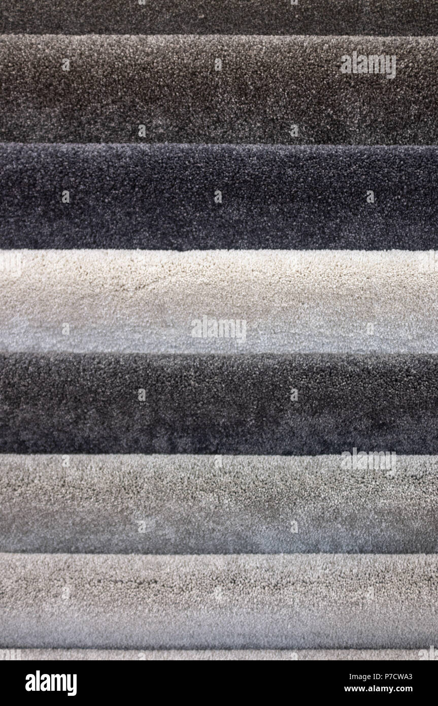 Floor carpets collection samples closeup - Stock Image
