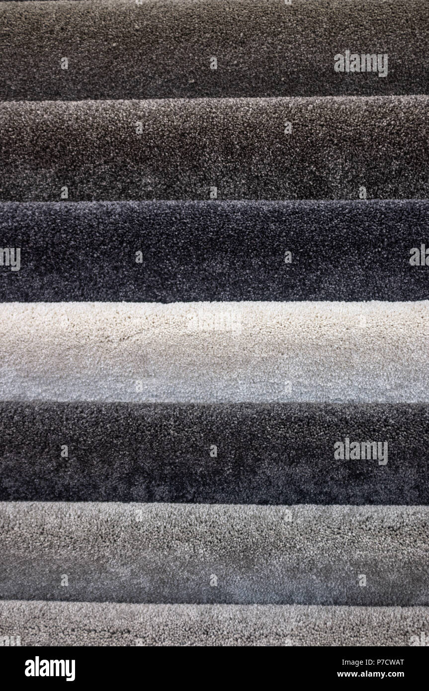 Floor carpets collection samples texture pattern closeup - Stock Image