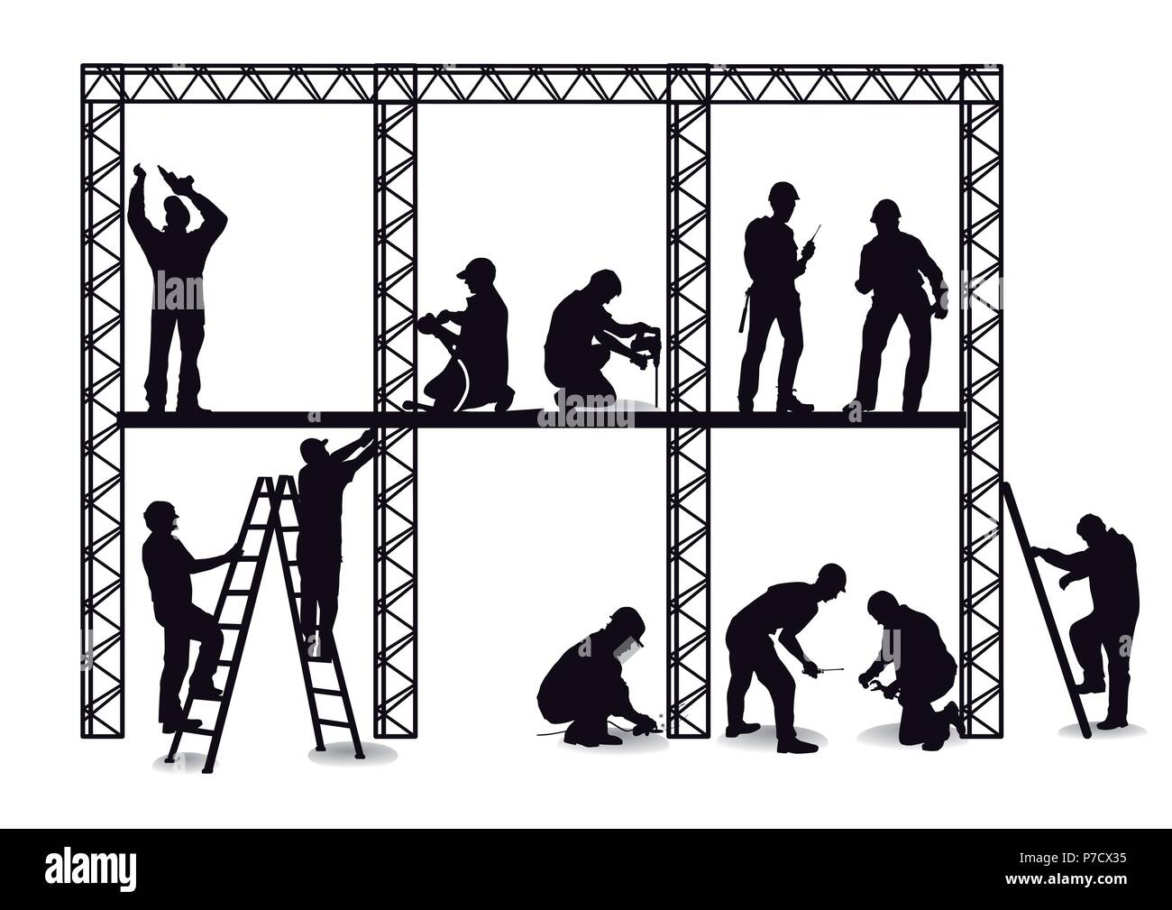 craftsman at the construction site - Stock Vector