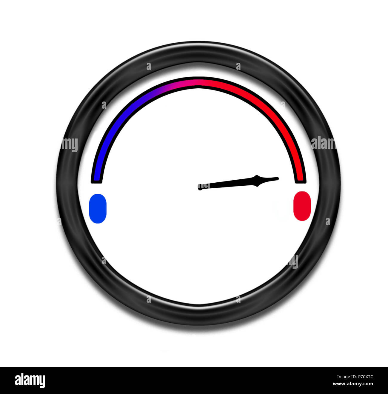 Temperature rising - dial. Summer heatwave etc. - Stock Image