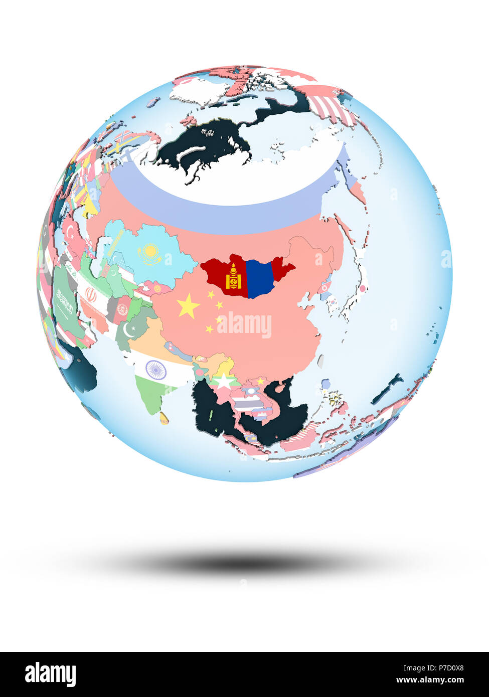 Mongolia on political globe with shadow isolated on white background. 3D illustration. - Stock Image