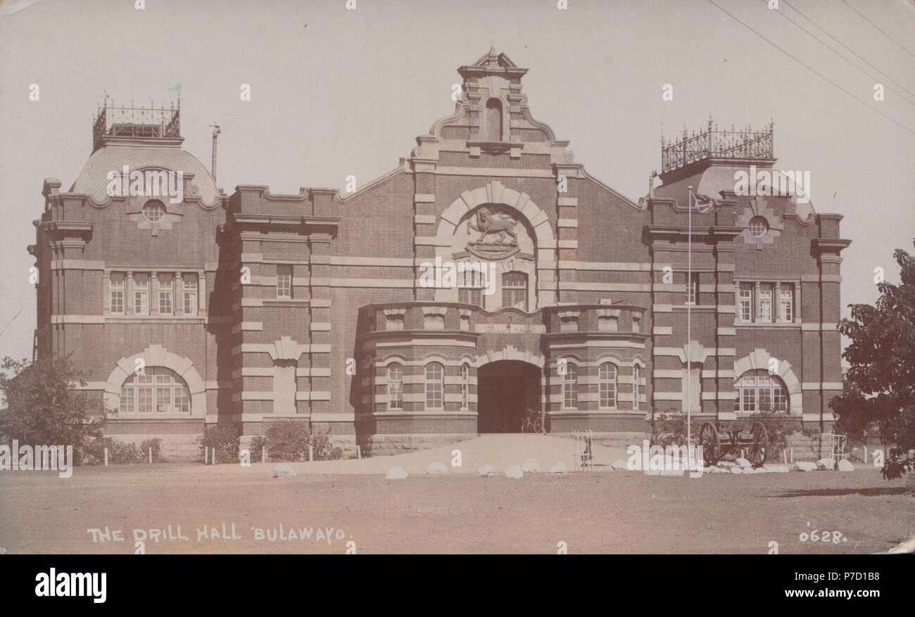 Vintage Photograph of The Drill Hall, Bulawayo, Rhodesia (Zimbabwe) - Stock Image
