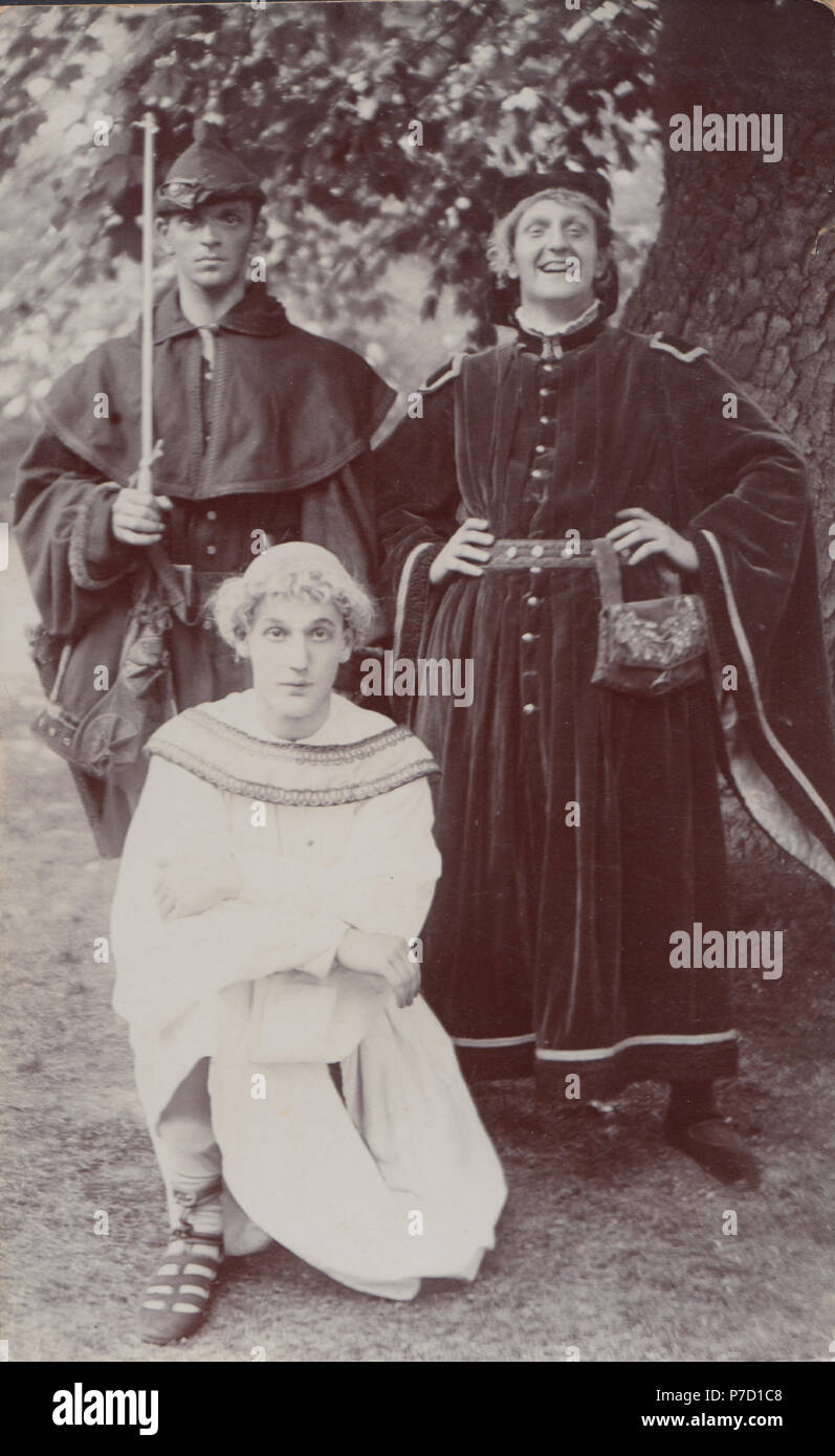 Vintage Photograph of Three Men Dressed Up As The Sheriff of Nottingham, Robin Hood and Friar Tuck in1911 - Stock Image