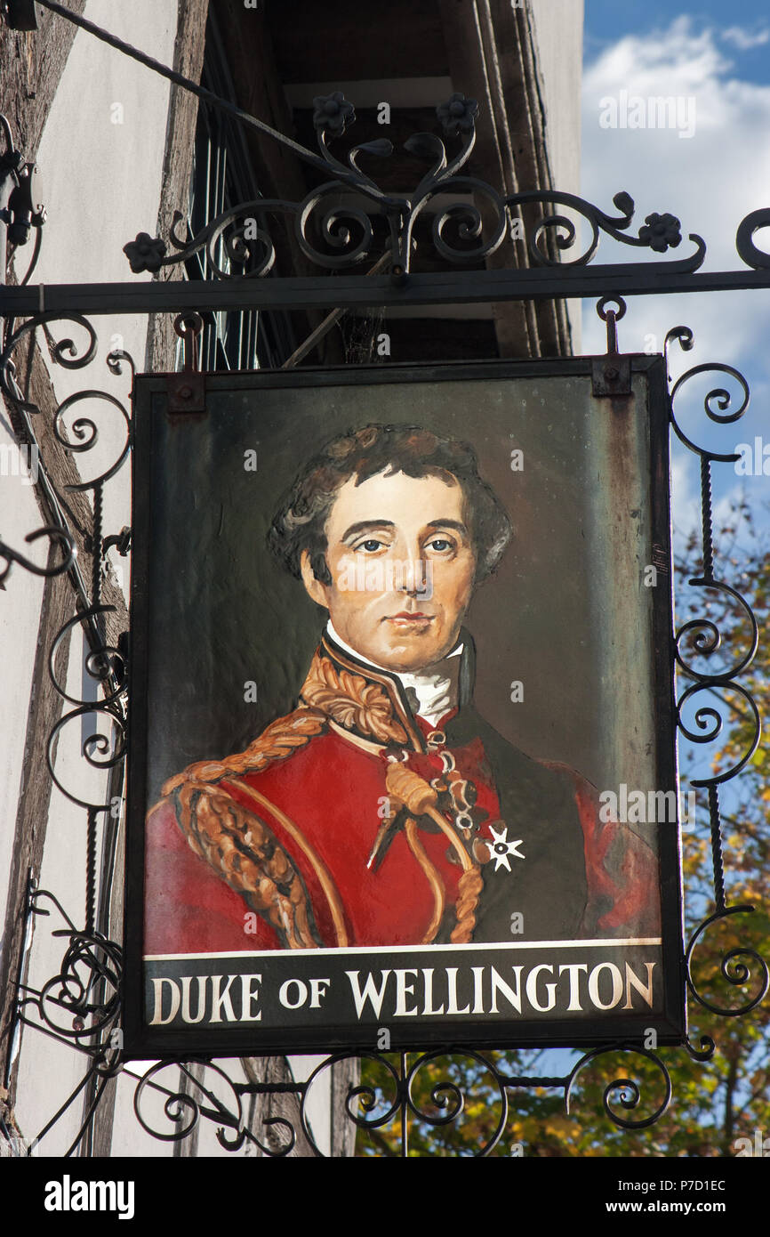 Portrait of the Duke of Wellington on sign of the pub named after him dating from 1220, Southampton, Hampshire - Stock Image