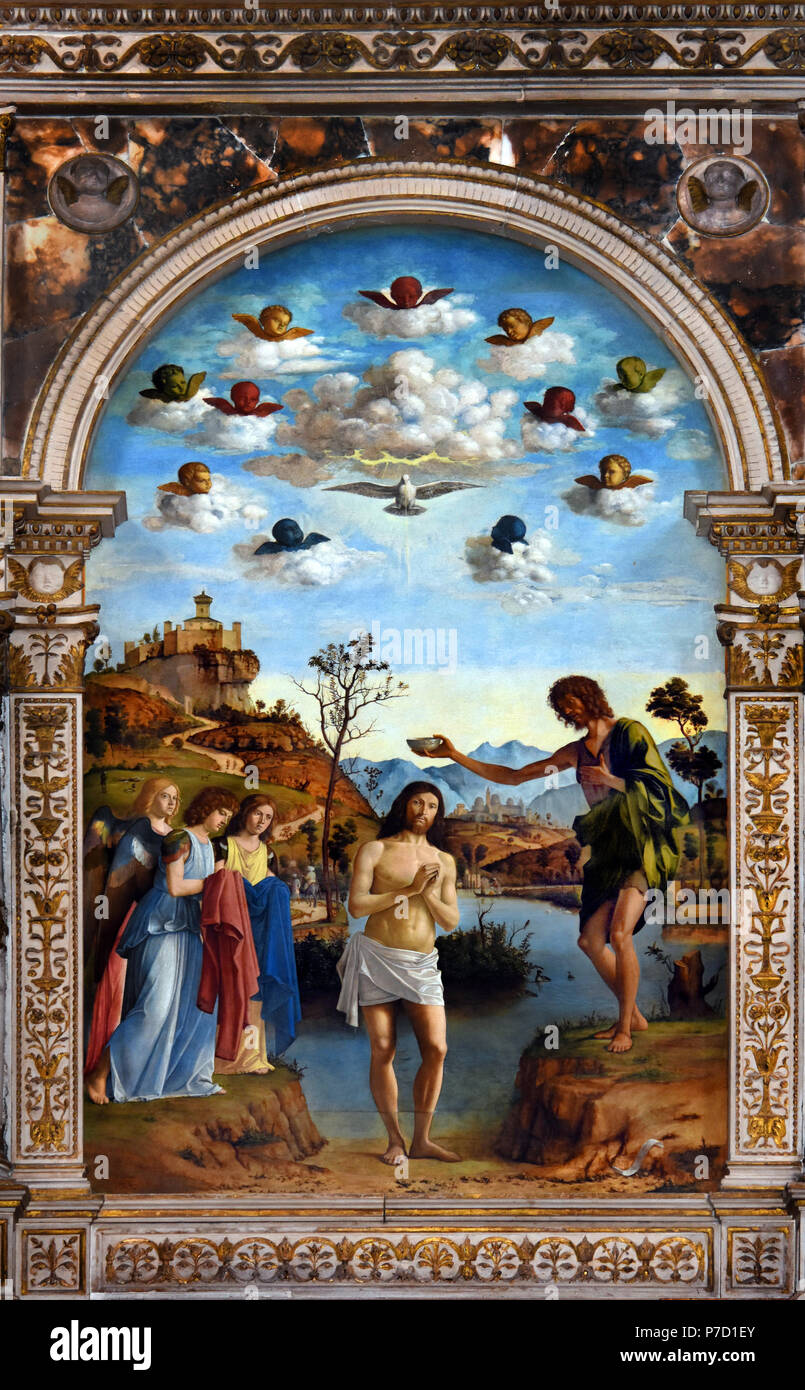 San Giovanni - St. John the Baptist in Bragora by Virgilio Boccardi, Venice, Venetian, Italy, Italian. ( The Church of Antonio Vivaldi ) - Stock Image