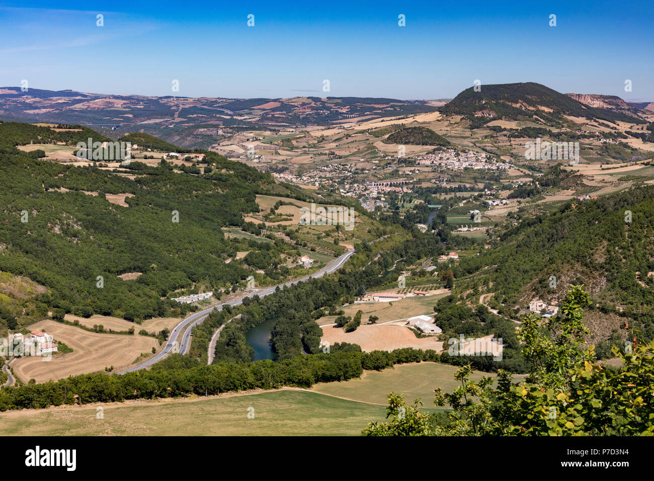 View of Aguessac and the viaduct, Millau, Occitanie, France - Stock Image