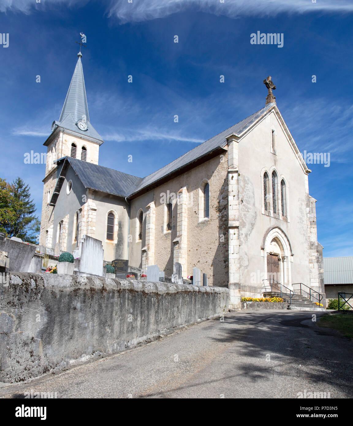 Church of St. Michel of Les Déserts, Haute-Savoie, France - Stock Image