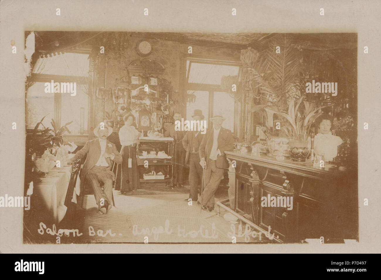 Vintage Photograph of The Saloon Bar of The Angel Hotel, Ilford, London, England, UK - Stock Image